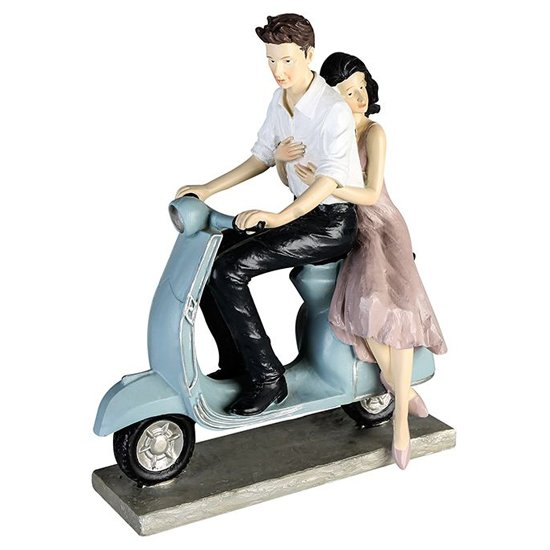 Couple On Scooter Poly Design Sculpture In Light Blue And White