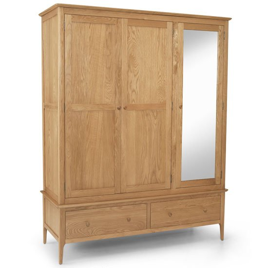 Courbet Triple Door Wardrobe In Light Solid Oak With Mirror