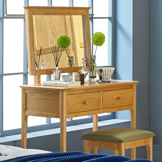Courbet Wooden 3Pc Dressing Table Set In Light Solid Oak_2