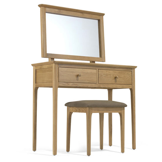 Courbet Wooden 3Pc Dressing Table Set In Light Solid Oak_1