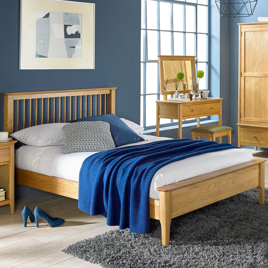 Courbet Wooden Double Low Foot Bed In Light Solid Oak