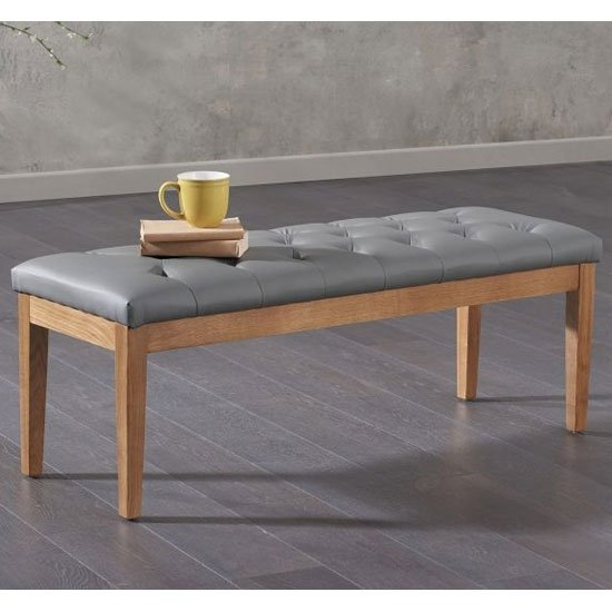 Courtney Solid Oak Dining Bench With Grey Faux Leather Seat