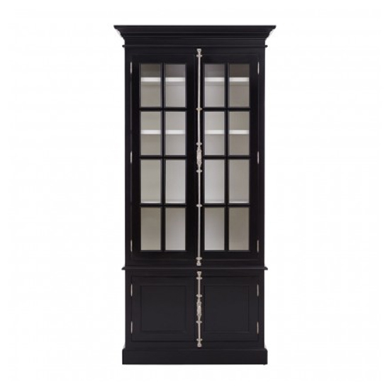 Coveca Wooden 4 Doors Display Cabinet In Black
