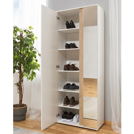 Cowell Mirrored Shoe Cupboard In White And Oak With 2 Doors_2