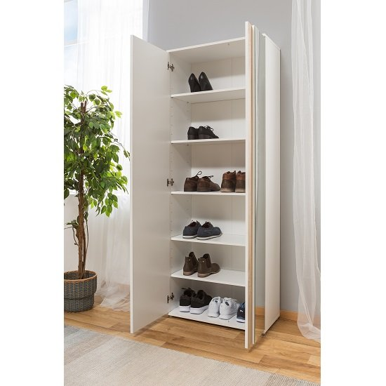 Cowell Mirrored Shoe Cupboard In White And Oak With 2 Doors_3