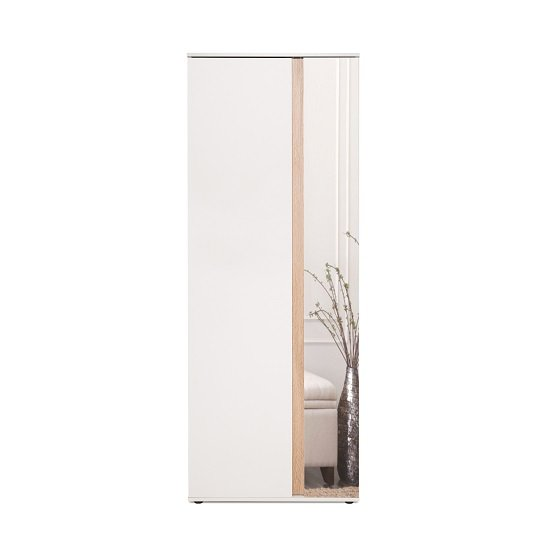 Cowell Mirrored Shoe Cupboard In White And Oak With 2 Doors_5