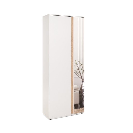 Cowell Mirrored Shoe Cupboard In White And Oak With 2 Doors_1