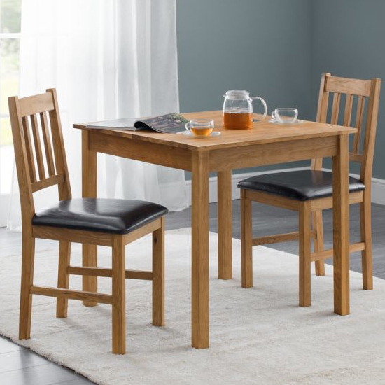 Coxmoor Compact Square Dining Set In Oiled Oak With 2 Chairs
