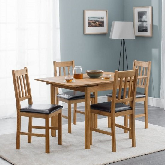 Coxmoor Extending Dining Table In Oiled Oak With Four Chairs_1
