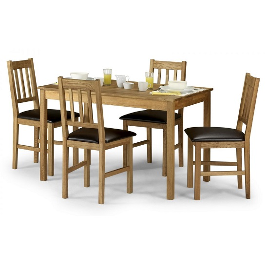 Coxmoor Wooden Dining Table In Oiled Oak With Four Chairs_2