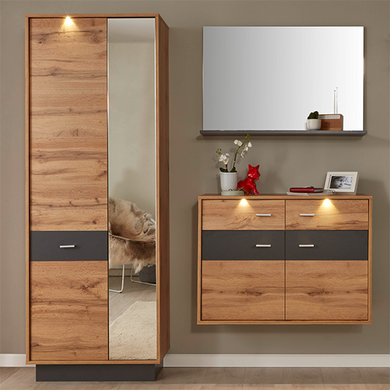 Coyco LED Hallway Furniture Set 9 In Wotan Oak And Grey