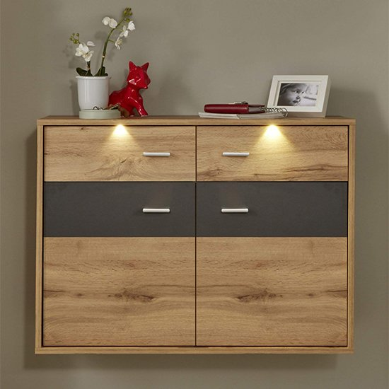 Coyco LED Wall Hung Shoe Storage Cabinet In Wotan Oak And Grey