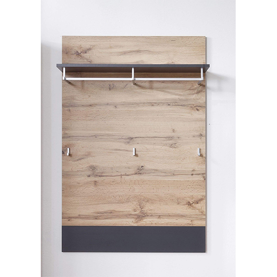 Coyco Wooden Coat Rack In Wotan Oak And Grey