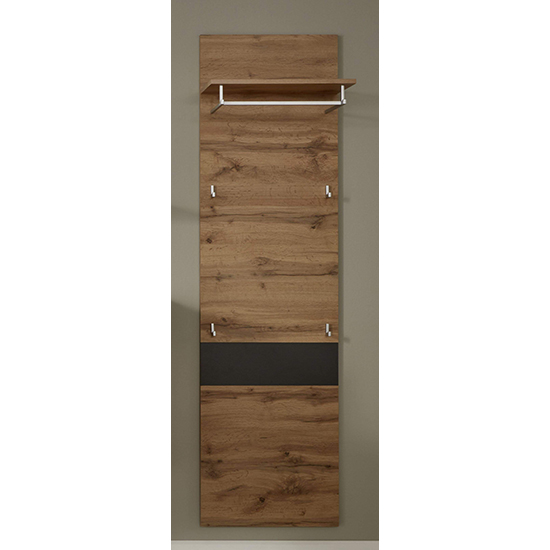 Coyco Wooden Tall Coat Rack In Wotan Oak And Grey