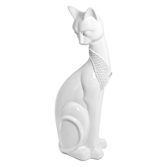 White Sitting Cat Sculpture