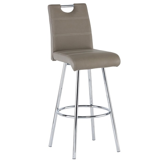 Crafton Bar Stool In Taupe Faux Leather With Chrome Frame_1