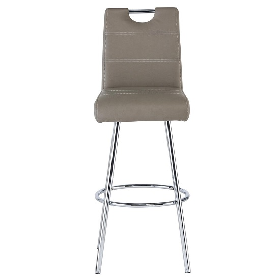 Crafton Bar Stool In Taupe Faux Leather With Chrome Frame_2