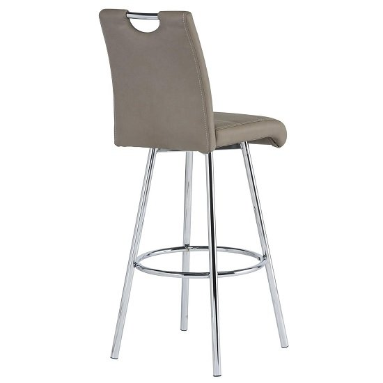 Crafton Bar Stool In Taupe Faux Leather With Chrome Frame_3