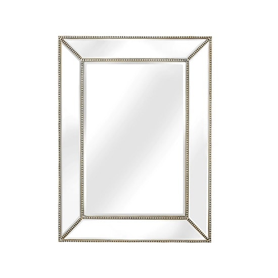 Cranbury Wall Mirror Rectangular In White Washed Champagne