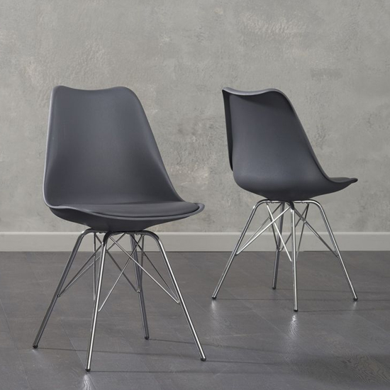 Crater Dark Grey Faux Leather Dining Chairs In Pair