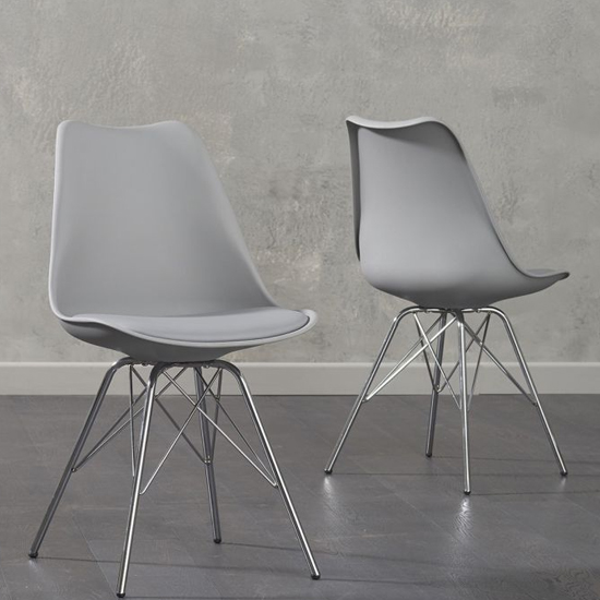 Crater Light Grey Faux Leather Dining Chairs In Pair