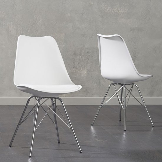 Crater White Faux Leather Dining Chairs In Pair