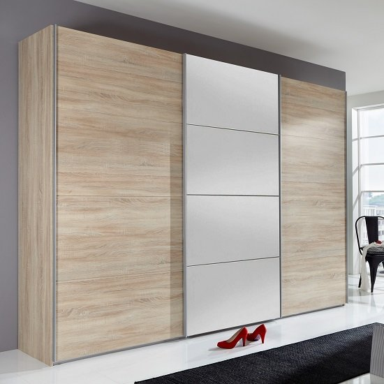 Crato Mirrored Sliding Wardrobe Large In Oak Effect With 3 Doors_1