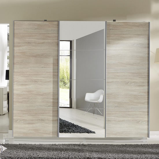 Crato Mirrored Sliding Wardrobe Large In Oak Effect With 3 Doors_3