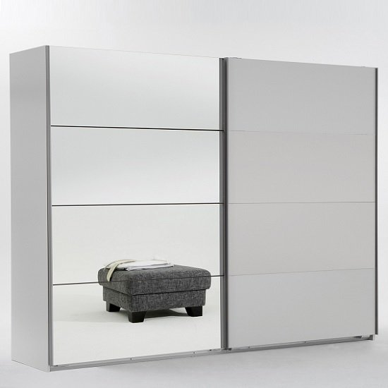 Crato Mirrored Sliding Wardrobe In White With 2 Doors_1