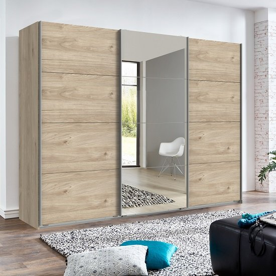 Crato Mirrored Sliding Wardrobe Large In Hickory Oak Effect