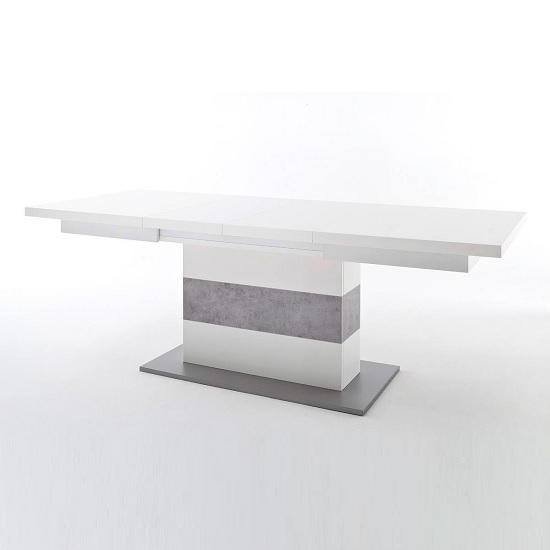 Craven Extendable Dining Table In Matt White And Concrete Look