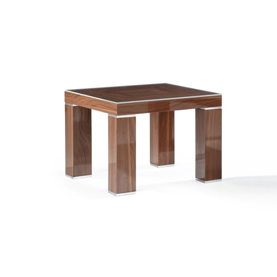 Light Walnut Wood Caleb Accent Table: Crayon Glass End Table Square In Dark Light Walnut Gloss