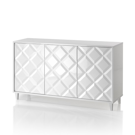 Credenza Wooden Sideboard In Glossy White Lacquered_1