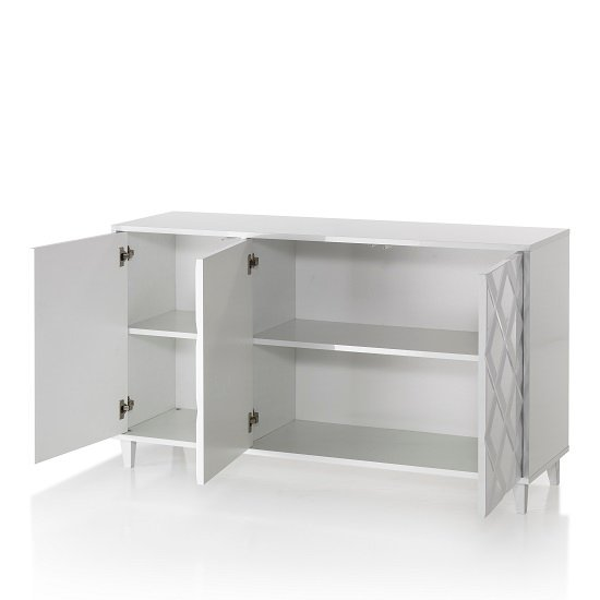 Credenza Wooden Sideboard In Glossy White Lacquered_3