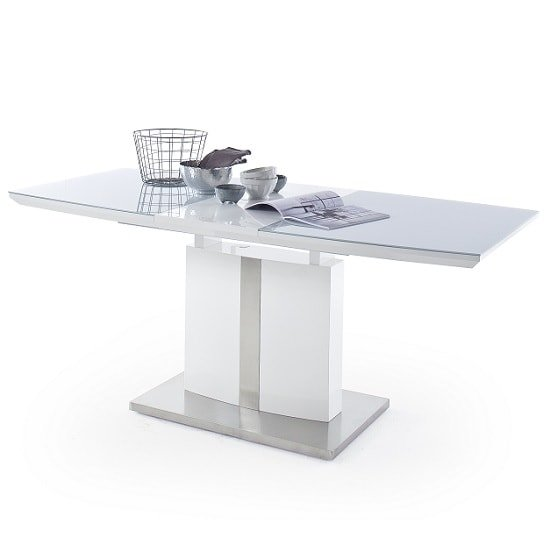 Cresta Extendable Glass Dining Table In High Gloss White