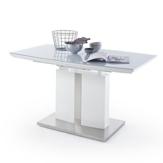 Cresta Extendable Glass Dining Table In High Gloss White_3