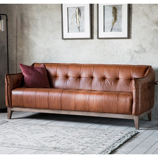 Image of Crevan 3 Seater Sofa In Mellow Brown Leather With Solid Ash Legs