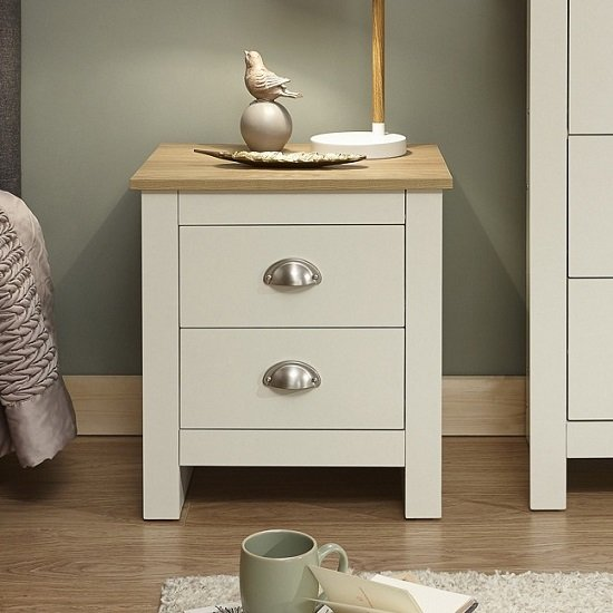 Crick Bedside Cabinet In Cream With Oak Effect Top_1