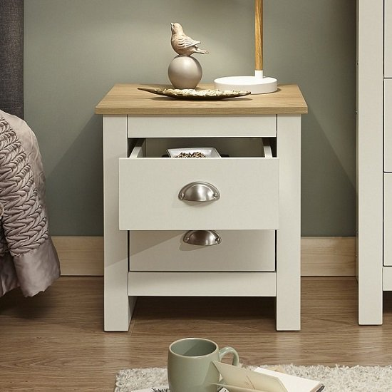 Crick Bedside Cabinet In Cream With Oak Effect Top_2