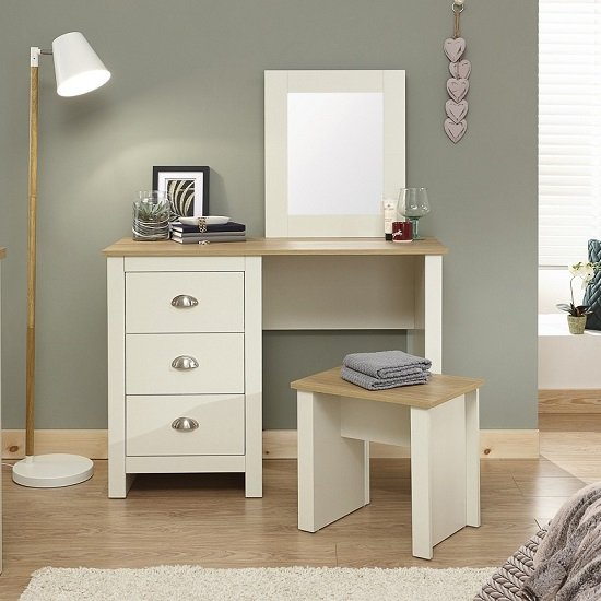 Crick Dressing Table Set In Cream With Oak Effect Top