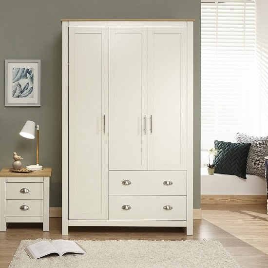 Crick Large Wardrobe In Cream With Oak Effect Top