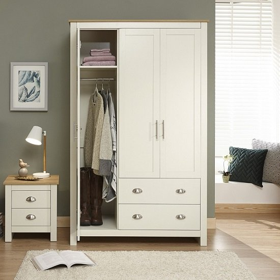 Crick Large Wardrobe In Cream With Oak Effect Top_2