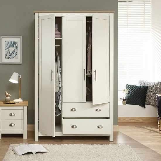 Crick Large Wardrobe In Cream With Oak Effect Top_3