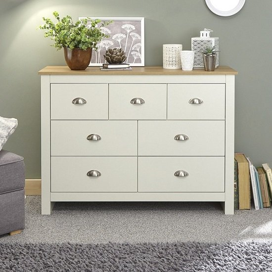 View Crick wide chest of drawers in cream with oak effect top
