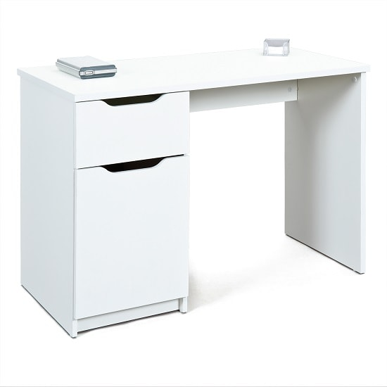 Crick Wooden Computer Desk In White With 1 Door And 1 Drawer