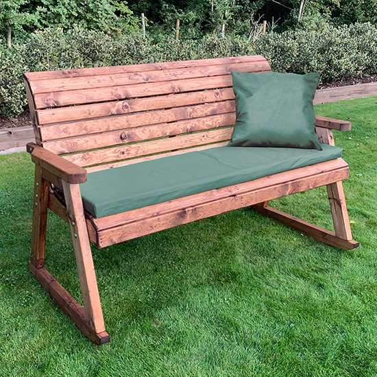 Seater Rocking Bench With Green Cushion, Outdoor Rocking Bench With Cushions