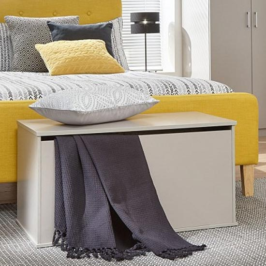 Crisfield Wooden Ottoman Storage Bench In Grey
