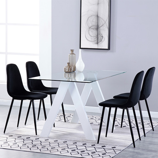 Criss Cross Glass Dining Set With 4 Alpine Black Velvet Chairs