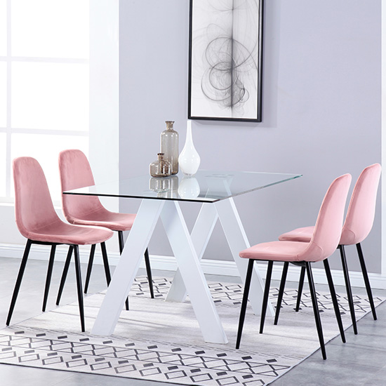 Criss Cross Glass Dining Set With 4 Alpine Rose Velvet Chairs