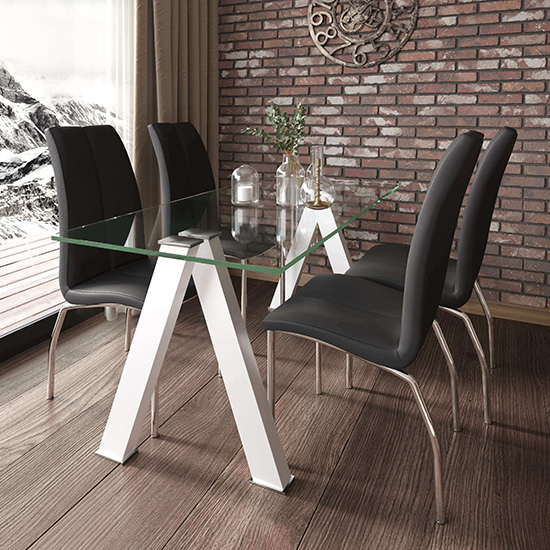 Criss Cross Glass Dining Set With 4 Boston Black Leather Chairs